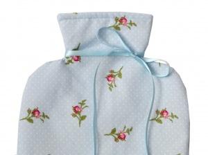 Wärmflaschenbezug hellblau mit Rosen für 2l Wärmflasche