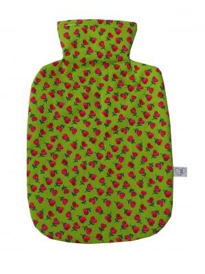 Wärmflaschenbezug hellgrün mit Herzblumen für 2l Wärmflasche