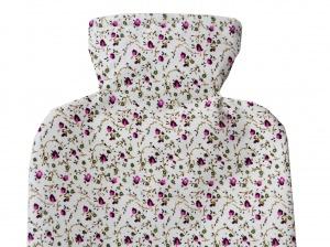 Wärmflaschenbezug weiß mit pinken Blumen für 2l Wärmflasche