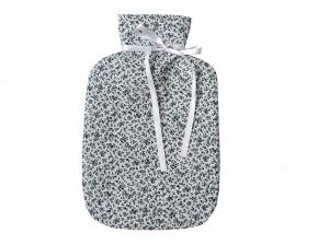 Wärmflaschenbezug weiß mit Blumen für 2l Wärmflasche