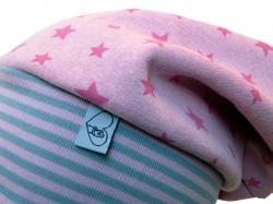 Mütze Beanie aus Sweat in rosa mit Sternen für Mädchen