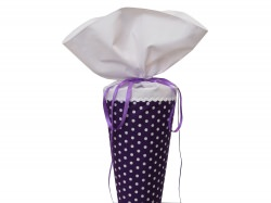 Schultüte aus Stoff in lila mit weißen Punkten für Mädchen