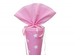 Schultüte aus Stoff in rosa mit weißen Sternen für Mädchen