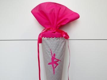 Schultüte aus Stoff Ballerina in grau und pink
