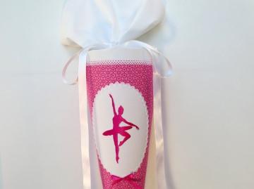 Schultüte aus Stoff Ballerina Tänzerin in pink und weiß für Mädchen