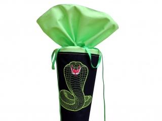 Schultüte aus Stoff Kobra Schlange in grün und schwarz für Jungen