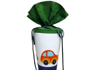 Schultüte aus Stoff mit Autos in blau weiß und grün für Jungen