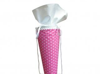 Schultüte aus Stoff in rosa mit weißen Sternen Zuckertüte für Mädchen