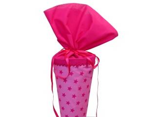 Schultüte aus Stoff in rosa mit pinken Sternen Zuckertüte für Mädchen
