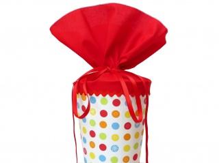 Schultüte aus Stoff in rot und weiß mit bunten Punkten Zuckertüte für Mädchen und Jungen