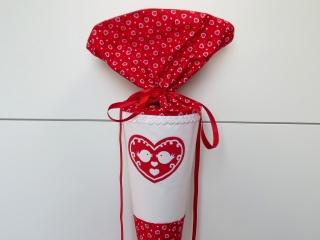 Schultüte aus Stoff Vögelchen Herz in rot weiß Zuckertüte für Mädchen