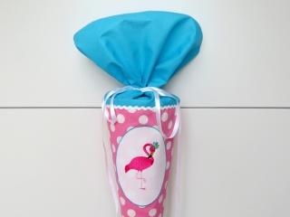 Schultüte aus Stoff Flamingo in rosa, türkis und weiß Zuckertüte für Mädchen