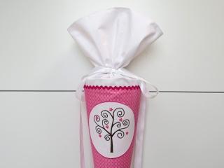 Schultüte aus Stoff Bäumchen in rosa und weiß Zuckertüte für Mädchen