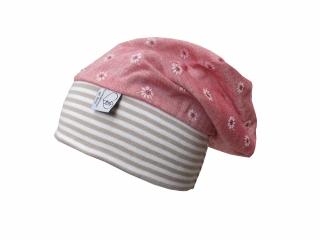 Mütze Beanie in rosa mit Blumen Leinenoptik für Mädchen