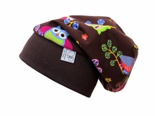 Mütze Beanie in braun mit süßen Eulen für Mädchen