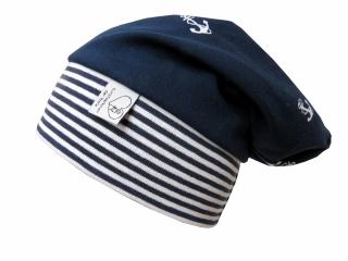 Mütze Beanie in blau mit Ankern für Mädchen und Jungen