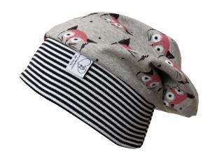 Mütze Beanie in grau mit Katzen für Mädchen und Jungen
