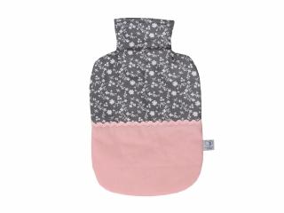 Wärmflaschenbezug in rosa und grau mit Blumen für 2l Wärmflasche