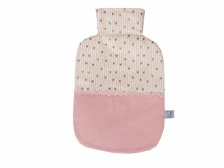 Wärmflaschenbezug in rosa und weiß mit Herzen für 2l Wärmflasche