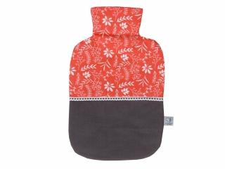Wärmflaschenbezug in orange und grau mit Blumen für 2l Wärmflasche