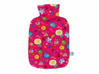Wärmflaschenbezug in pink mit Blumen und Vögeln für 2l Wärmflasche
