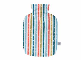 Wärmflaschenbezug in weiß mit Streifen für 2l Wärmflasche