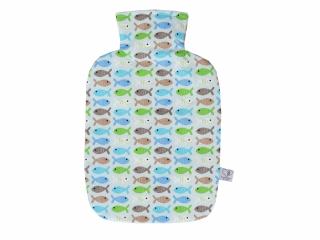 Wärmflaschenbezug in hellblau mit Fischen für 2l Wärmflasche