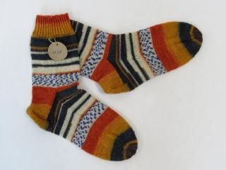 Handgestrickte Wollsocken in Größe 37 / 38 in orange, grau und natur