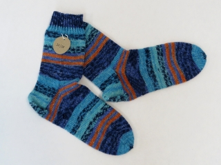 Handgestrickte Wollsocken in Größe 37 / 38 in blau, türkis und orange