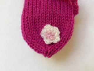 Handgestrickte Wollsocken in 9,5cm in fuchsia Baby Frühchen