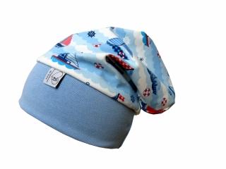 Mütze Beanie in blau mit Segelbooten für Mädchen und Jungen Babymütze Kindermütze
