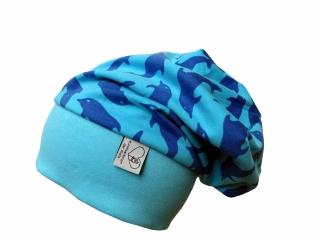 Mütze Beanie in blau mit Delfinen für Mädchen und Jungen Babymütze Kindermütze  )
