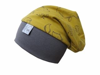Mütze Beanie in grau und curry für Mädchen und Jungen Babymütze Kindermütze