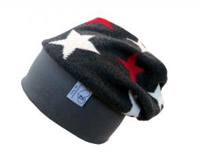 Mütze Beanie aus Strick in grau mit Sternen für Mädchen und Jungen Babymütze Kindermütze