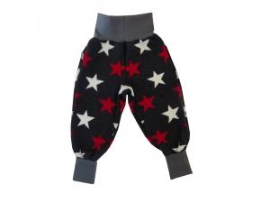Warme Mitwachshose aus Strick in grau rot und weiß für Babys und Kleinkinder