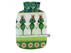 Wärmflaschenbezug Froschkönig in weiß und grün für 2l Wärmflasche