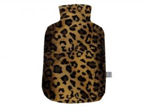 Wärmflaschenbezug LEOPARD aus Fellimitat für 2l Wärmflasche