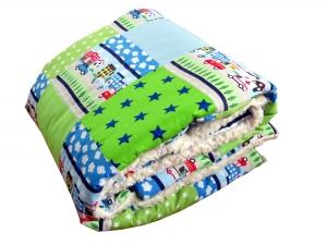 Krabbeldecke Babydecke Autos in blau und grün Baby Laufstalldecke Patchworkdecke