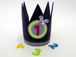 Süße Geburtstagskrone Krone für Mädchen in lila und hellgrün mit Schmetterling