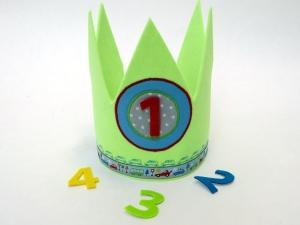 Geburtstagskrone Autos Krone für Jungs in lime und blau
