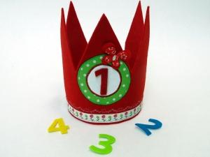 Süße Geburtstagskrone Krone für Mädchen in rot und grün mit Schmetterling