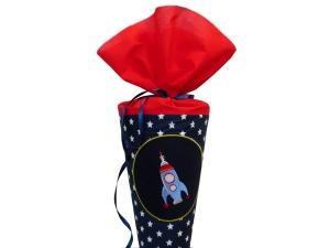 Schultüte Zuckertüte aus Stoff Rakete in blau und rot für Jungen