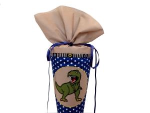 Schultüte Zuckertüte aus Stoff Dinosaurier in blau und beige für Jungen