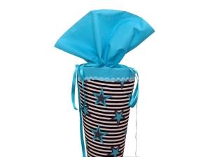 Schultüte aus Stoff in blau türkis Sternen Zuckertüte für Mädchen und Jungen