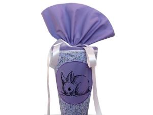 Schultüte Zuckertüte aus Stoff Kaninchen in lila für Mädchen