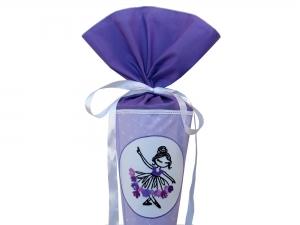 Schultüte Zuckertüte aus Stoff Ballerina in lila für Mädchen