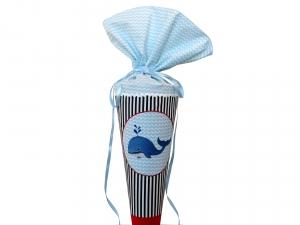 Schultüte Zuckertüte aus Stoff Wal für Mädchen und Jungen
