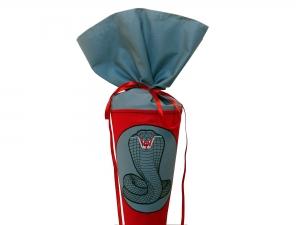 Schultüte Zuckertüte aus Stoff Kobra in grau und rot für Jungen
