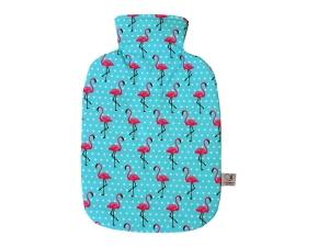 Wärmflaschenbezug mit NAMEN itürkis mit Flamingos für 2l Wärmflasche