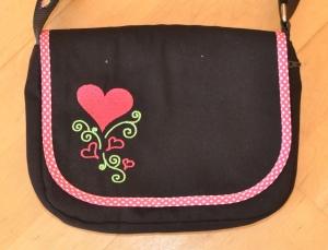 Wechselklappe Herz für Handtasche Buntklee